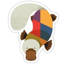 'Hello Platypus' Sticker by printedsparrow Australian Animals, Australian Art, Platypus, Wombat, Canvas Prints, Art Prints, Animal Nursery, Emu, Kangaroo