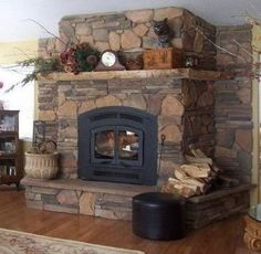 Wood Burning Fireplace Decor Mantles 57 New Ideas Rock Fireplaces, Rustic Fireplaces, Farmhouse Fireplace, Wood Fireplace, Fireplace Remodel, Fireplace Design, Fireplace Ideas, Primitive Fireplace, Indoor Fireplaces