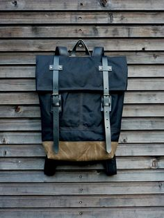 Waxed canvas rucksack/backpack with folded top by treesizeverse