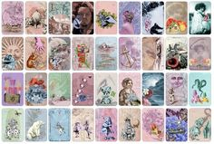 The Alice in Wonderland Vintage Petit Lenormand has been designed by Pepi Valderrama, using vintage & victorian images into the public domain, turning each card into a dreamy collage. The deck retains the spirit of the traditional Petit Lenormand, however it adds a new fairy tale feeling to it. Each card contains the clues for the divination process, which can be easily seen. If you like Alice in Wonderland, or Vintage designs, this is your deck.