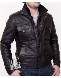 Mens Black Leather Jacket - Vortex - Detach Inner Collar - Front