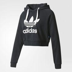 Crop Hoodie ($60) ❤ liked on Polyvore featuring tops, hoodies, hooded sweatshirt, pullover hoodies, crop top, french terry hoodies and cropped hoodie