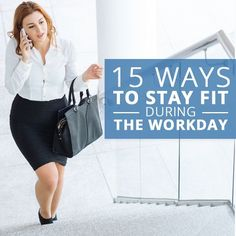 Desk jobs can make it hard to be fit but it is not impossible!  We have 15 Ways to Stay Fit During the Workday! #workdayworkout #workouts #fitness