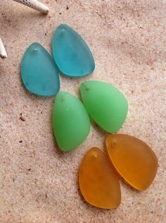 Mixed lot- 3 pair SEAGLASS eclipse beads/pendant seaglass beads.supplies,transparent periwinkle purple -6 pc lot. Colors as pictured.  These are