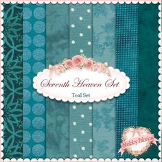 Seventh Heaven 7 FQ Set - Teal: This Seventh Heaven Set is an exclusive Shabby Fabrics creation! We have taken the guesswork out of finding coordinating fabrics. This set contains 7 coordinating fat quarters, each measuring approximately 18