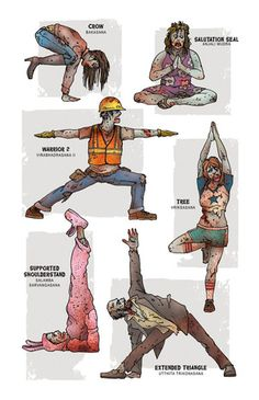 Yoga poses with zombies. lol!!! if this isn't motivation, i don't know what is...