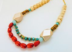 Red necklace, Turquoise necklace, Wooden Necklace, Statement Necklace, Boho-Chic Necklace, Romantic Necklace, Gift for her, Birthday Gift