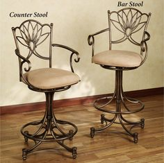 The Massea Upholstered Metal Bar Stool features a modernized, sleek style. A beautiful contemporary leaf design complements the antique gold metal scrollwork. Upholstered Bar Stools, Swivel Bar Stools, Counter Stools, Modern Home Furniture, Metal Furniture, Rustic Furniture, Dinning Chairs, Bar Chairs, Basement Remodel Diy