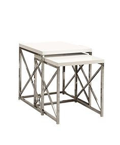 Glossy WhiteChrome Metal 2 Piece Nesting Table Set *** You can get more details by clicking on the image.