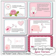 Love Bible Verses Valentine Cards 4x6 fits Project Life Pocket Cards, Envelope, Sunday School Printable Scripture Instant Download