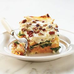 Butternut-Kale Lasagna Recipe -- I'll use traditional lasagna noodles next time and more butternut squash