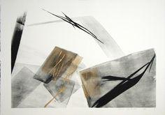 SHINODA Toko(篠田桃紅) Kasumi 1993 ed.30 63 x 90 cm lithograph/ hand added color; gold