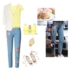 Embroidered jeans by renistyle on Polyvore featuring polyvore, Sofie D'hoore, Jolie Moi, Valentino, Michael Kors, Tiffany & Co., fashion, style, clothing, casualoutfit and CasualChic