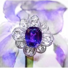 FORMS Jewellery an elegant natural no-heat purple sapphire and diamond ring.
