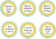 Etiquetas de comida para o chá de bebê.