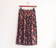 90s midi skirt // floral print // elastic by superqueenieretro, $30.00