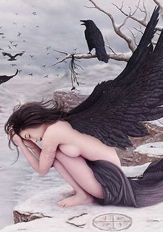 Framed Print - Naked Angel with Black Wings in the Snow (Gothic Crow/Raven Art)
