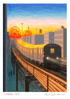 """Coney Island Express"" by Eric Drooker (New Yorker cover)"