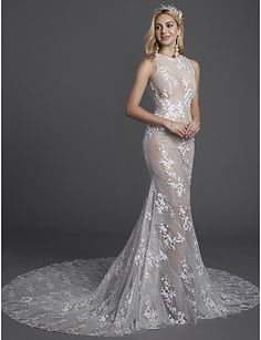 87f18c36c Mermaid / Trumpet Jewel Neck Chapel Train Lace / Tulle Made-To-Measure  Wedding