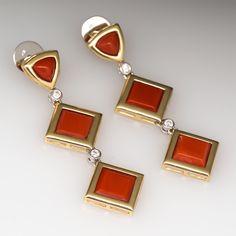 Coral Drop Dangle Earrings Diamond Accents 18K Gold.......