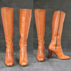 Vintage Caramel Colored Leather High Heeled Boots