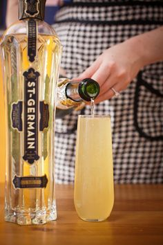 Small splash of St. Germain (a little bit goes a long way)    Splash of pear juice    Fill with chilled Champagne (I prefer Prosecco)