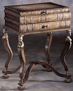 Library Side Table / False books atop cast metal. You will want to turn the keys.