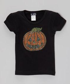 Look at this #zulilyfind! Black Rhinestone Pumpkin Tee - Toddler & Girls by A Wish #zulilyfinds