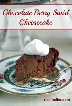 Grain-Free, Vegan   Sugar-Free Chocolate Berry Swirl Cheesecake - Ricki Heller @RickiHeller