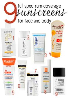 9 Full Spectrum Sunscreens!  Broad spectrum isn't enough, it skips the middle of the UV spectrum.  You need to read the ingredients to be sure you're getting full coverage. #followitfindit!