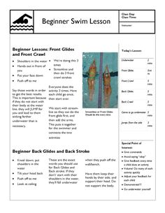 Beginner Swim Lesson Template Use this basic template to get a general idea on what to do. Most swim lessons are focusing on Front crawl (Freestyle), or Back Crawl (Backstroke). Baby Swimming Classes, Swimming For Beginners, Swimming Lessons For Kids, Swimming Tips, Swim Lessons, Kids Swimming, Swimming Workouts, Swimming Instructor, Bike Workouts