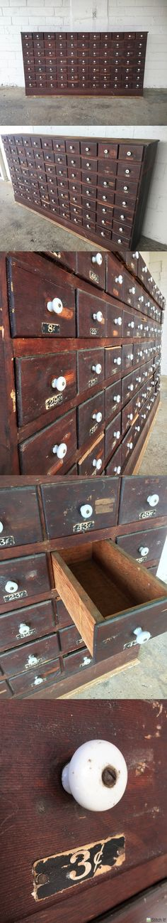 HUGE Antique Hardware Store 77 Drawer Wooden Apothecary Cabinet Parts Bin Card Catalog General Store TV Console Entryway https://www.etsy.com/se-en/listing/499739518/huge-antique-hardware-store-77-drawer