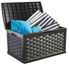 Comforter Storage Bench for Indoor and Outdoor 71 Gallon Black Plastic Garden Storage Box Pool Storage Patio Deck Box & E-Book Plastic Garden Storage Box, Patio Storage, Outdoor Storage, Storage Sheds, Comforter Storage, Storing Garden Tools, Patio Seat Cushions, Plastic Decking, Affordable Storage