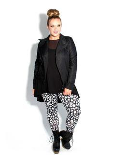 Domino Dollhouse Plus Size Clothing Basic Leggings In Black White Skulls Lady Constanze  C B Plus Size Punk Girls Rock