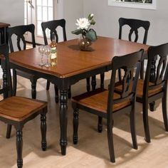 Black And Cherry Dining Room Table Set
