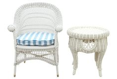 Wicker Accent Chair & Table, S/2