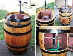DIY Wine Barrel Sink this would look good in Mike's saloon