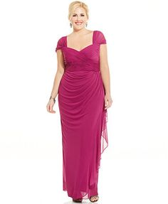 Alex Evenings Plus Size Ruched Cascade Ruffle Gown
