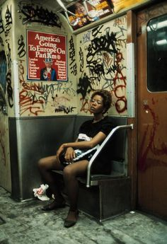 Subway rider on Lexington Avenue Lin, New York City, 1983.  Photo by Thomas Hoepker.