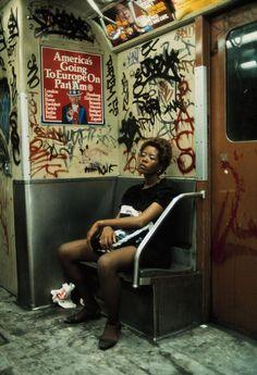 Subway rider on Lexington Avenue Lin, New York City, 1983.  Photo by Thomas Hoepker.