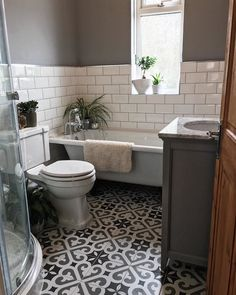 A week later, walls painted in Dulux Warm Pewter Bathroom Design Decor, Patterned Floor Tiles, Patterned Bathroom Tiles, Bathroom Interior Design, Bathroom Makeover, Small Bathroom, Bathroom Renovations, Bathroom Decor, Downstairs Toilet