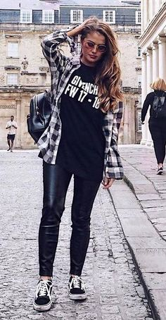how to style a plaid shirt : bag + printed tee + leather skinnies + sneakers