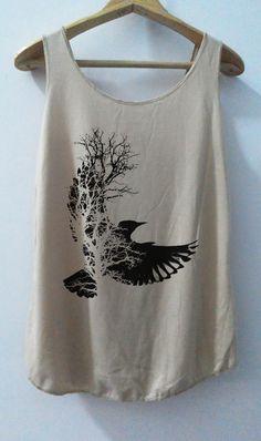 Bird Art Shirt Animal Shirt Women Shirt Tank Top Women T-Shirt Singlet Tunic Vest  Sleeveless Size S,M,L