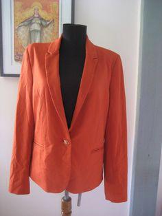 Vivienne Tam Orange Rust Stretch Single Breast Blazer Sportscoat Jacket sz L #VivienneTam #Blazer