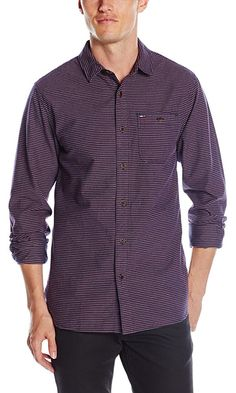 Tommy Hilfiger Denim Men's Long Sleeve Horizontal Stripe Button Down Shirt, Black Iris/Multi, Medium Best Price