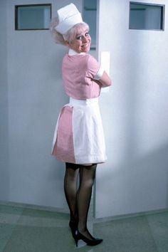 Nurse - Barbara Windsor - Actress in Carry On films Sidney James, Barbara Windsor, Caroline Munro, Film Images, British Comedy, People Of Interest, Comedy Tv, Nursing Dress, Stockings Lingerie