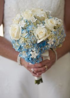 blue and cream bouquet