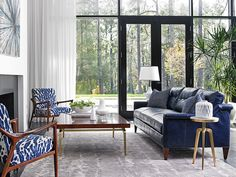 Blue leather sofa.                                                       …