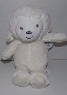NWT-9-034-Carters-White-RATTLE-Lamb-Plush-Target-Precious-Firsts-66841-Striped-Feet