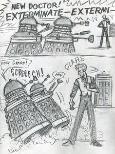 Inspired by the quick glimpse we got of Twelve in the anniversary special. I'd love a Doctor who can scare even the Daleks with his glare.